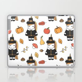 cartoon thanksgiving pattern with pilgrim unicorns, pumpkins, apples, pears, leaves and acorns Laptop & iPad Skin