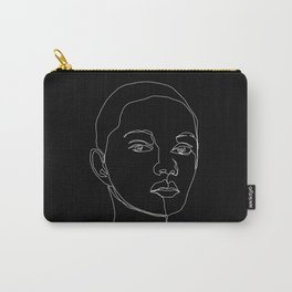 Face one line black and white illustration - Cody Carry-All Pouch
