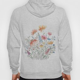 wild flower bouquet and blue bird- ink and watercolor 2 Hoody