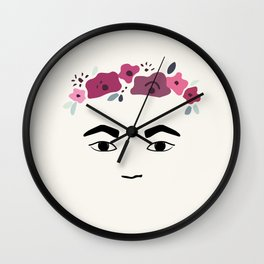 Frida with flowers Wall Clock