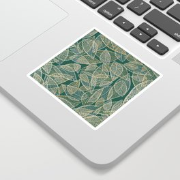 Forest green silver gold glitter abstract leaves pattern Sticker