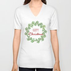 Happy Christmas wreath holly and berries Unisex V-Neck