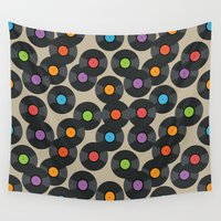 records Wall Tapestries featuring Vinyl Records by PatternInk