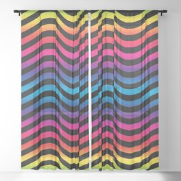 Wiggly Vibrant Multicolour Lines Sheer Curtain