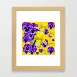 GOLDEN YELLOW IRIS PURPLE PANSY GARDEN Framed Art Print