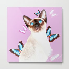 Siamese Butterfly Pink Metal Print