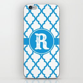 Blue Monogram: Letter R iPhone Skin