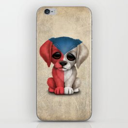 Cute Puppy Dog with flag of Czech Republic iPhone Skin