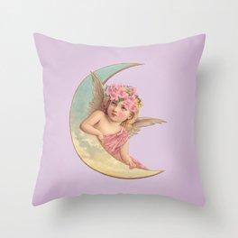 Victorian Moon Angel Throw Pillow