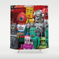 terminator Shower Curtains featuring Robots & The Terminator by Iris Chadab