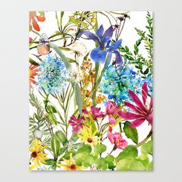 Watercolor flower garden party with butterfly Canvas Print
