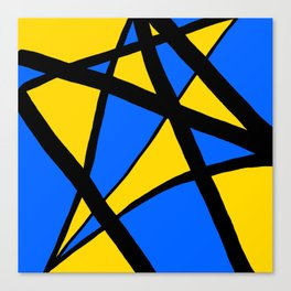 Yellow and Blue Triangles Abstract Canvas Print