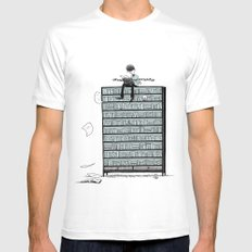 LITTLE DREAMS, BIG BOOKCASE MEDIUM Mens Fitted Tee White