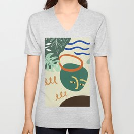 Minimal Contemporary Wall Art Affiche de formes abstraites Leaf Face Art Print Unisex V-Neck