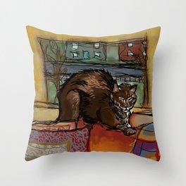 Brown Cat Nap Throw Pillow