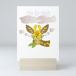 Giraffe Camelopard Africa Zoo Wildlife Funny Gift  Mini Art Print