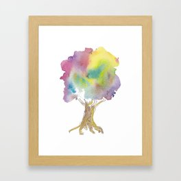 Dreaming tree - watercolor and ink whimsical illustration Framed Art Print