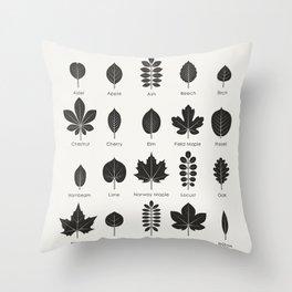 European Tree Leaves Throw Pillow