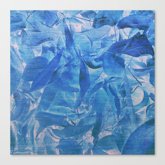 Abstract Blue Leaves Canvas Print