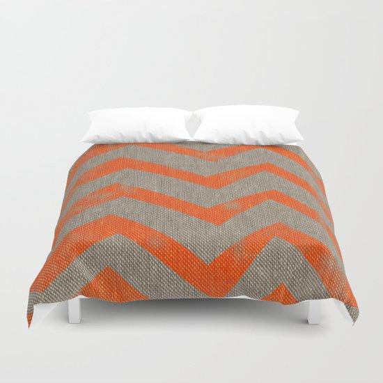 Orange chevron on linen Duvet Cover