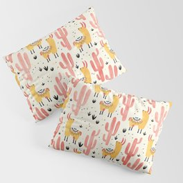 Yellow Llamas Red Cacti Pillow Sham