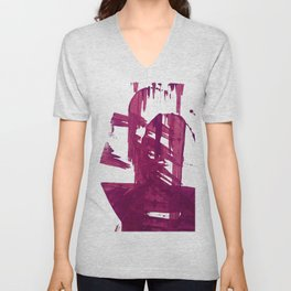 Cranberry brushstroke [1]: a bold, simple, abstract piece in purple Unisex V-Neck