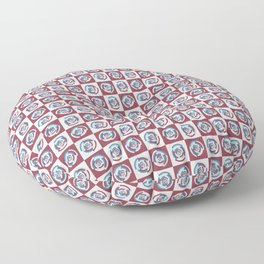 Spinning colourful rings on red and grey chessboard Floor Pillow
