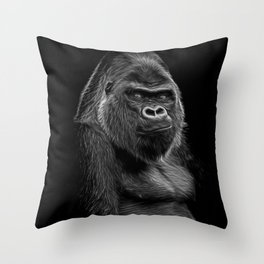 Impressive Silverback Throw Pillow