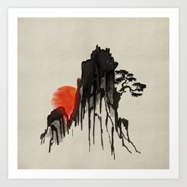 Japanese Mountain sunset - sumi-e Art Print