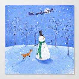 Christmas Snowman wth Fox Canvas Print