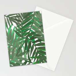 Tropical leaves : Green grey Stationery Cards