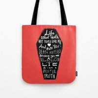 zappa Tote Bags featuring Life asked death... by Picomodi