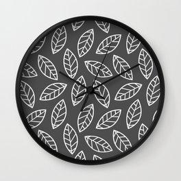 Leaves - Dark Gray Wall Clock