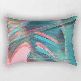 Glitch Monstera Theme Rectangular Pillow