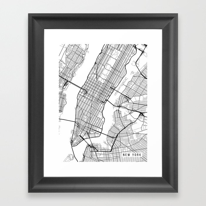 New York City Map, Manhattan New York USA - Black & White Portrait  Gerahmter Kunstdruck