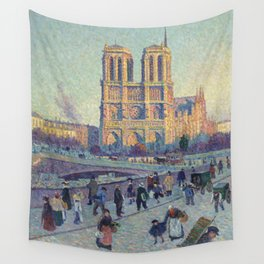 """Maximilien Luce """"The Quai Saint-Michel and Notre-Dame"""" Wall Tapestry"""