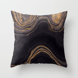 Dark Night Marble With Gold Glitter Waves Throw Pillow