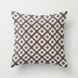 Starburst Floral, Dark Chocolate background Throw Pillow