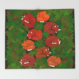 Sleepy foxes and Grapevine leaves Throw Blanket