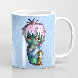 Green chibi dark elf with a kawaii cat Coffee Mug
