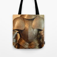 knight Tote Bags featuring Knight by SlothgirlArt