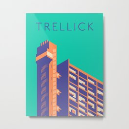 Trellick Tower London Brutalist Architecture - Text Turquoise Metal Print