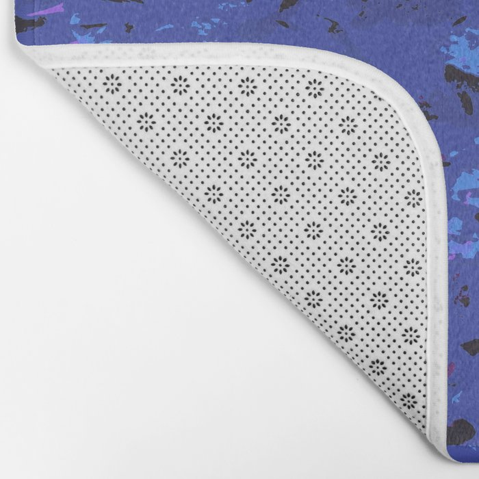 Shabby Chic Blue Floral Abstract Bath Mat