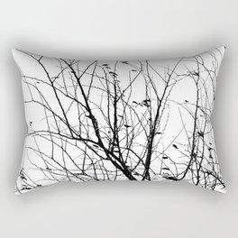 Black white tree branch bird nature pattern Rectangular Pillow