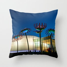 Seattle Glass Flowers Space Needle Throw Pillow