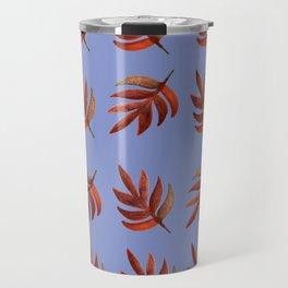 Leaf pattern blue Travel Mug