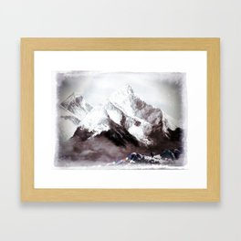Panoramic View Of Everest Mountain Painting Framed Art Print