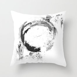 Black abstract circle artprint black and white illustration Throw Pillow