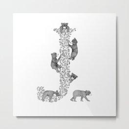 Bearfabet Letter J Metal Print
