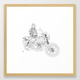 Girl on a motorycycle Framed Art Print
